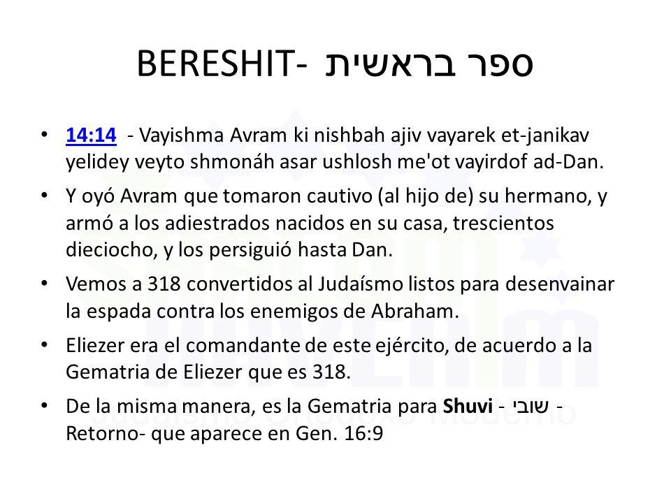 BERESHIT- ספר בראשית 14:14 - Vayishma Avram ki nishbah ajiv vayarek et-janikav yelidey veyto shmonáh asar ushlosh me ot vayirdof ad-Dan.