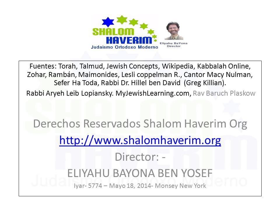 Fuentes: Torah, Talmud, Jewish Concepts, Wikipedia, Kabbalah Online, Zohar, Rambán, Maimonides, Lesli coppelman R., Cantor Macy Nulman, Sefer Ha Toda, Rabbi Dr.