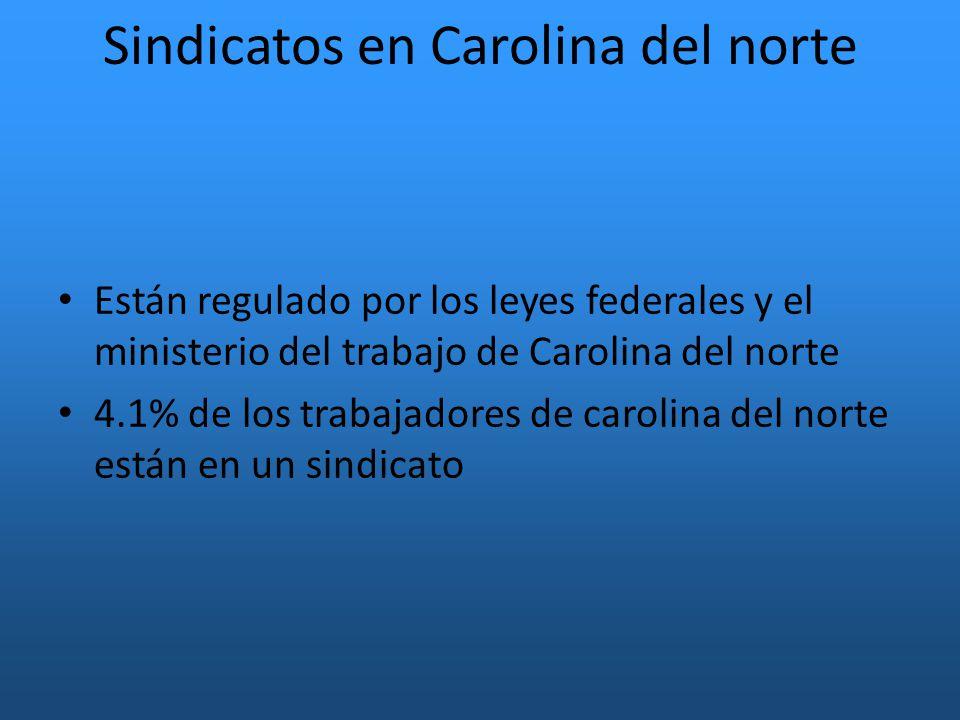 Sindicatos en Carolina del norte Están regulado por los leyes federales y el ministerio del trabajo de Carolina del norte 4.1% de los trabajadores de carolina del norte están en un sindicato