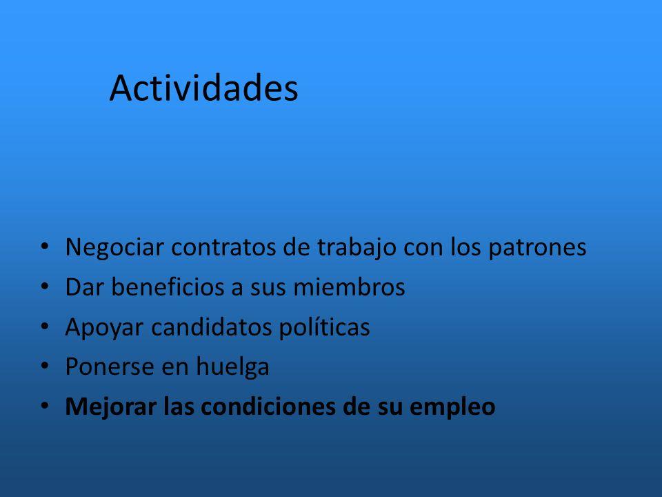Actividades Negociar contratos de trabajo con los patrones Dar beneficios a sus miembros Apoyar candidatos políticas Ponerse en huelga Mejorar las condiciones de su empleo