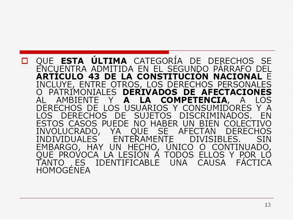 13  QUE ESTA ÚLTIMA CATEGORÍA DE DERECHOS SE ENCUENTRA ADMITIDA EN EL SEGUNDO PÁRRAFO DEL ARTÍCULO 43 DE LA CONSTITUCIÓN NACIONAL E INCLUYE, ENTRE OTROS, LOS DERECHOS PERSONALES O PATRIMONIALES DERIVADOS DE AFECTACIONES AL AMBIENTE Y A LA COMPETENCIA, A LOS DERECHOS DE LOS USUARIOS Y CONSUMIDORES Y A LOS DERECHOS DE SUJETOS DISCRIMINADOS.
