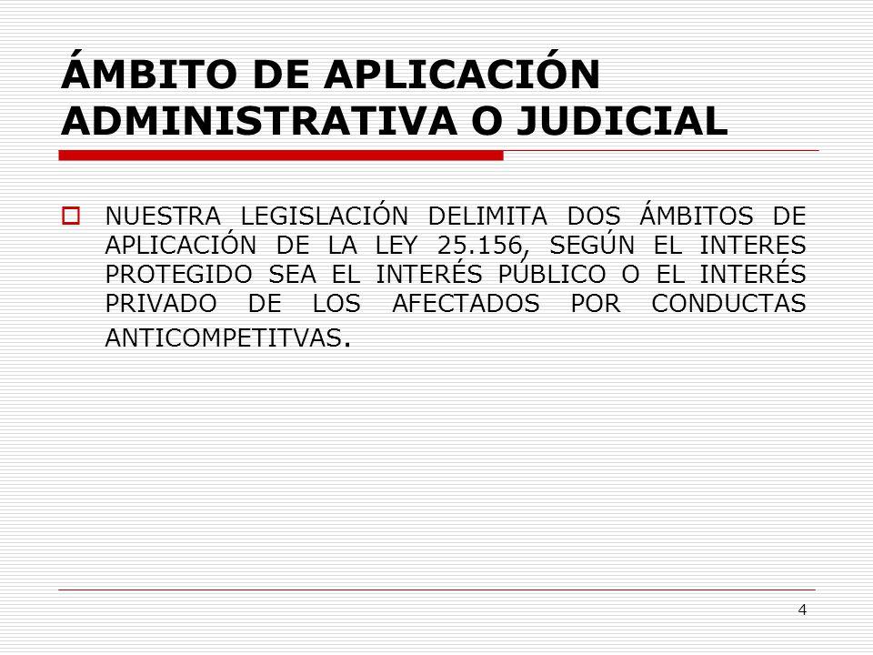 4 ÁMBITO DE APLICACIÓN ADMINISTRATIVA O JUDICIAL  NUESTRA LEGISLACIÓN DELIMITA DOS ÁMBITOS DE APLICACIÓN DE LA LEY 25.156, SEGÚN EL INTERES PROTEGIDO SEA EL INTERÉS PÚBLICO O EL INTERÉS PRIVADO DE LOS AFECTADOS POR CONDUCTAS ANTICOMPETITVAS.