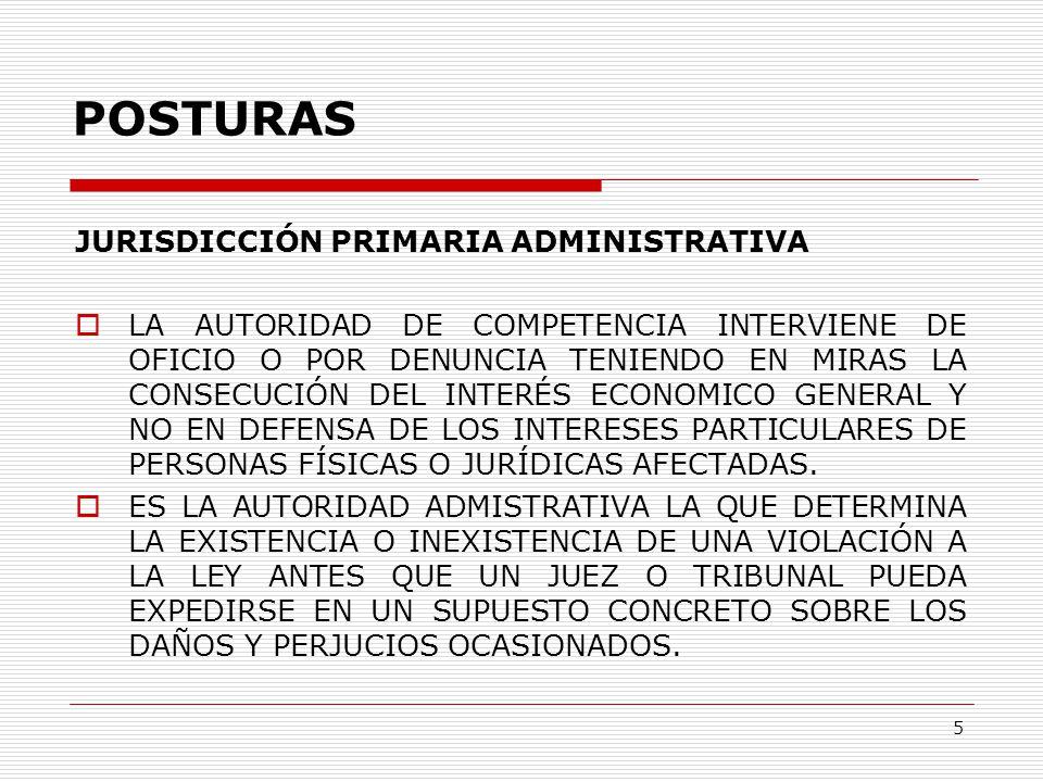 5 POSTURAS JURISDICCIÓN PRIMARIA ADMINISTRATIVA  LA AUTORIDAD DE COMPETENCIA INTERVIENE DE OFICIO O POR DENUNCIA TENIENDO EN MIRAS LA CONSECUCIÓN DEL INTERÉS ECONOMICO GENERAL Y NO EN DEFENSA DE LOS INTERESES PARTICULARES DE PERSONAS FÍSICAS O JURÍDICAS AFECTADAS.