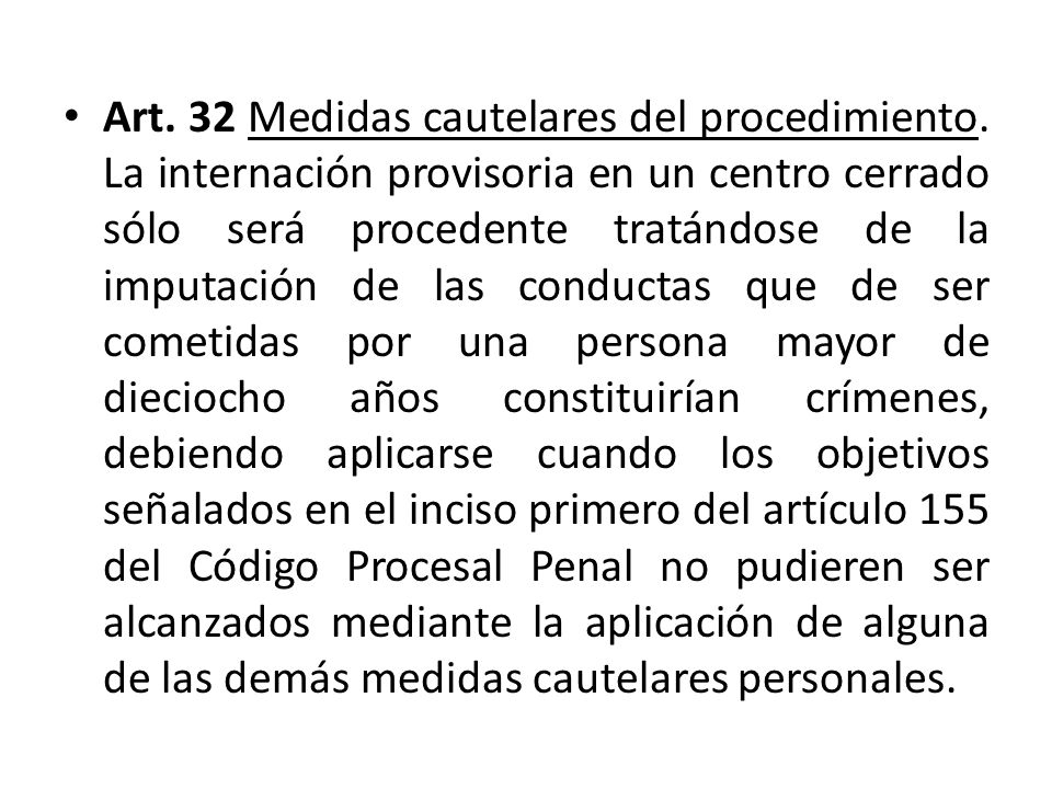 Art. 32 Medidas cautelares del procedimiento.