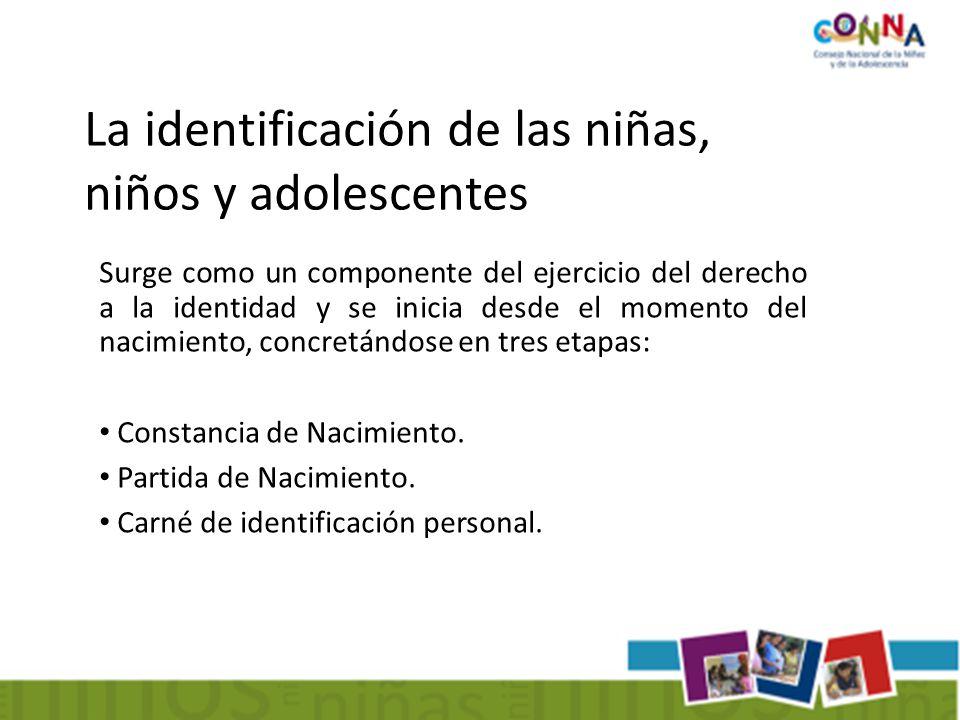 Surge como un componente del ejercicio del derecho a la identidad y se inicia desde el momento del nacimiento, concretándose en tres etapas: Constancia de Nacimiento.