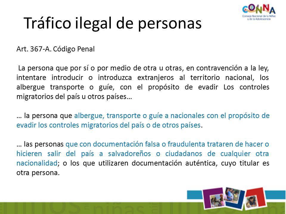 Tráfico ilegal de personas Art. 367-A.