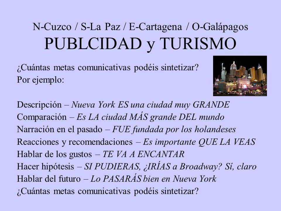 N-Cuzco / S-La Paz / E-Cartagena / O-Galápagos PUBLCIDAD y TURISMO ¿Cuántas metas comunicativas podéis sintetizar.