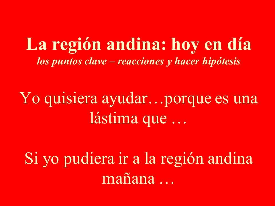 La región andina: hoy en día los puntos clave – reacciones y hacer hipótesis Yo quisiera ayudar…porque es una lástima que … Si yo pudiera ir a la región andina mañana …