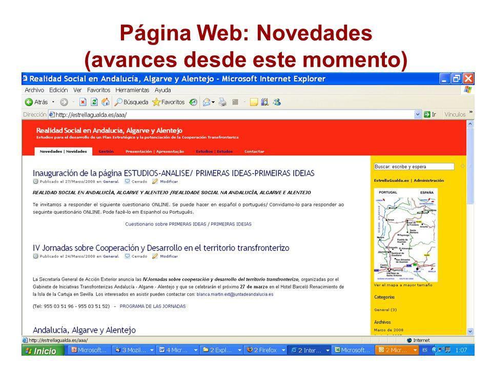 Página Web: Novedades (avances desde este momento)