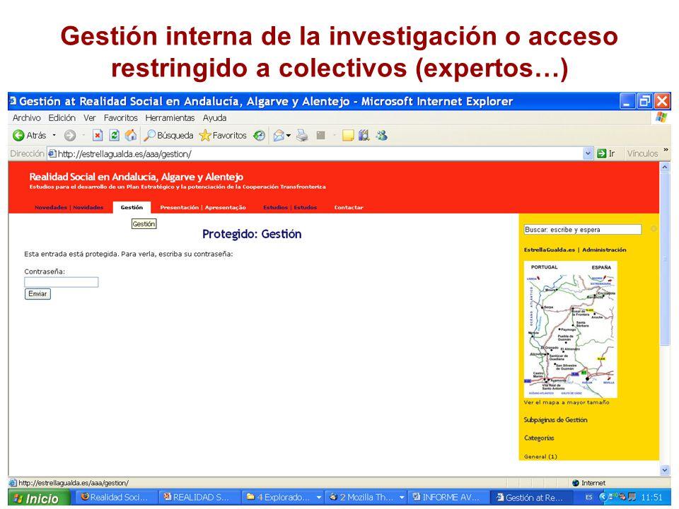 Gestión interna de la investigación o acceso restringido a colectivos (expertos…)