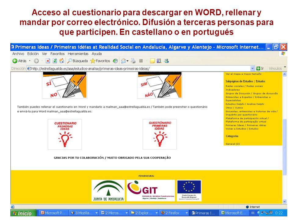 Acceso al cuestionario para descargar en WORD, rellenar y mandar por correo electrónico.
