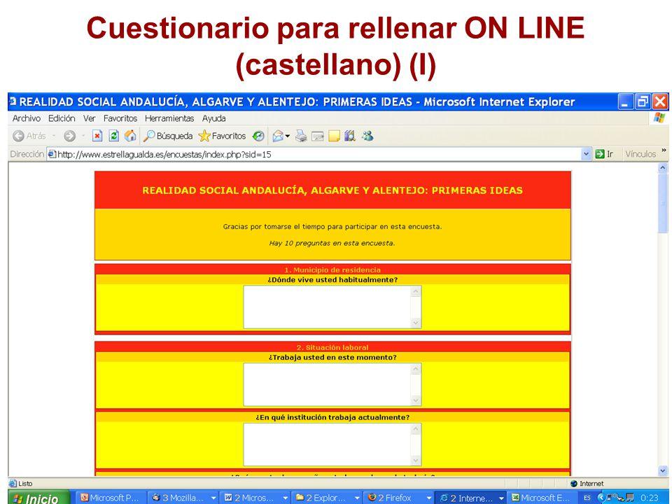 Cuestionario para rellenar ON LINE (castellano) (I)