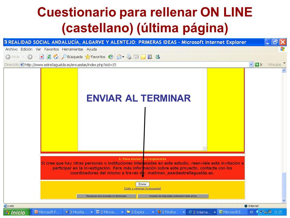 Cuestionario para rellenar ON LINE (castellano) (última página) ENVIAR AL TERMINAR