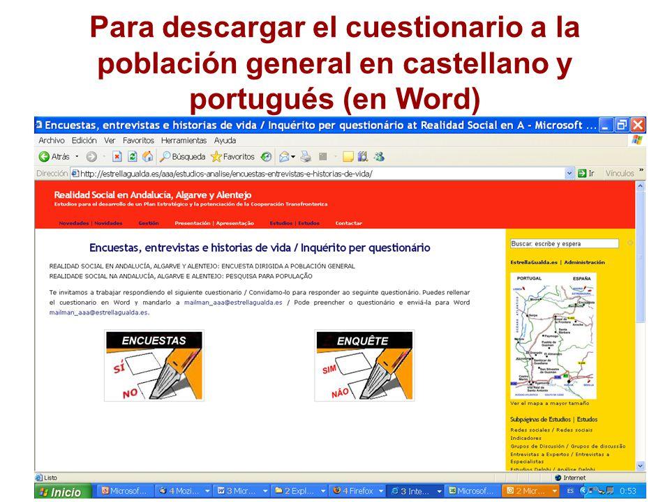 Para descargar el cuestionario a la población general en castellano y portugués (en Word)