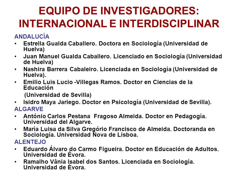 EQUIPO DE INVESTIGADORES: INTERNACIONAL E INTERDISCIPLINAR ANDALUCÍA Estrella Gualda Caballero.