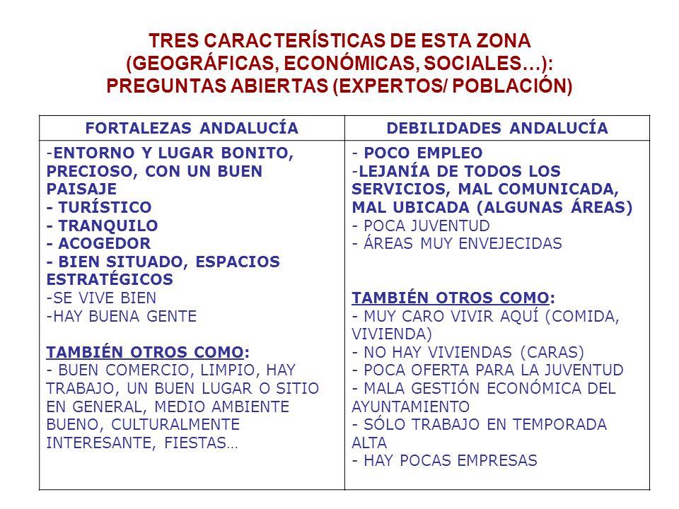 TRES CARACTERÍSTICAS DE ESTA ZONA (GEOGRÁFICAS, ECONÓMICAS, SOCIALES…): PREGUNTAS ABIERTAS (EXPERTOS/ POBLACIÓN) FORTALEZAS ANDALUCÍADEBILIDADES ANDALUCÍA -ENTORNO Y LUGAR BONITO, PRECIOSO, CON UN BUEN PAISAJE - TURÍSTICO - TRANQUILO - ACOGEDOR - BIEN SITUADO, ESPACIOS ESTRATÉGICOS -SE VIVE BIEN -HAY BUENA GENTE TAMBIÉN OTROS COMO: - BUEN COMERCIO, LIMPIO, HAY TRABAJO, UN BUEN LUGAR O SITIO EN GENERAL, MEDIO AMBIENTE BUENO, CULTURALMENTE INTERESANTE, FIESTAS… - POCO EMPLEO -LEJANÍA DE TODOS LOS SERVICIOS, MAL COMUNICADA, MAL UBICADA (ALGUNAS ÁREAS) - POCA JUVENTUD - ÁREAS MUY ENVEJECIDAS TAMBIÉN OTROS COMO: - MUY CARO VIVIR AQUÍ (COMIDA, VIVIENDA) - NO HAY VIVIENDAS (CARAS) - POCA OFERTA PARA LA JUVENTUD - MALA GESTIÓN ECONÓMICA DEL AYUNTAMIENTO - SÓLO TRABAJO EN TEMPORADA ALTA - HAY POCAS EMPRESAS