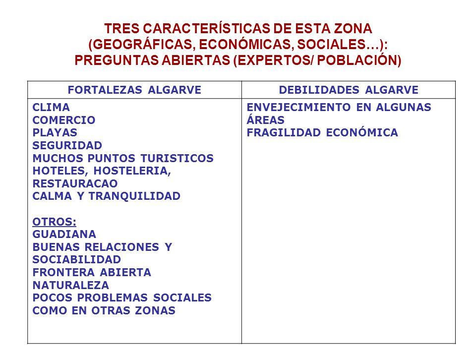 TRES CARACTERÍSTICAS DE ESTA ZONA (GEOGRÁFICAS, ECONÓMICAS, SOCIALES…): PREGUNTAS ABIERTAS (EXPERTOS/ POBLACIÓN) FORTALEZAS ALGARVEDEBILIDADES ALGARVE CLIMA COMERCIO PLAYAS SEGURIDAD MUCHOS PUNTOS TURISTICOS HOTELES, HOSTELERIA, RESTAURACAO CALMA Y TRANQUILIDAD OTROS: GUADIANA BUENAS RELACIONES Y SOCIABILIDAD FRONTERA ABIERTA NATURALEZA POCOS PROBLEMAS SOCIALES COMO EN OTRAS ZONAS ENVEJECIMIENTO EN ALGUNAS ÁREAS FRAGILIDAD ECONÓMICA