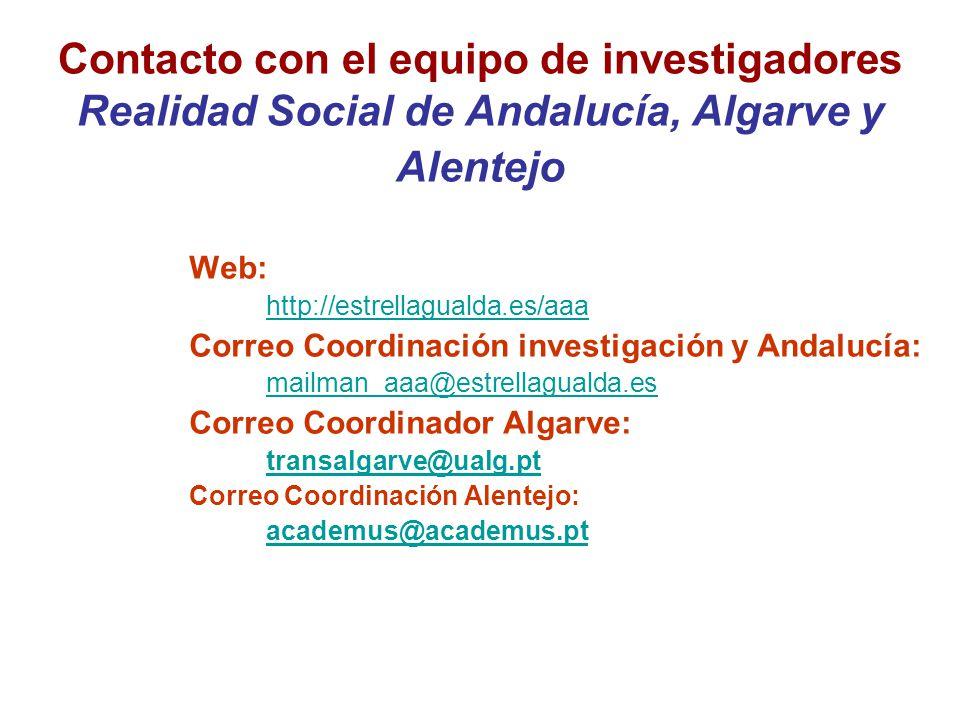 Contacto con el equipo de investigadores Realidad Social de Andalucía, Algarve y Alentejo Web: http://estrellagualda.es/aaa Correo Coordinación investigación y Andalucía: mailman_aaa@estrellagualda.es Correo Coordinador Algarve: transalgarve@ualg.pt Correo Coordinación Alentejo: academus@academus.pt