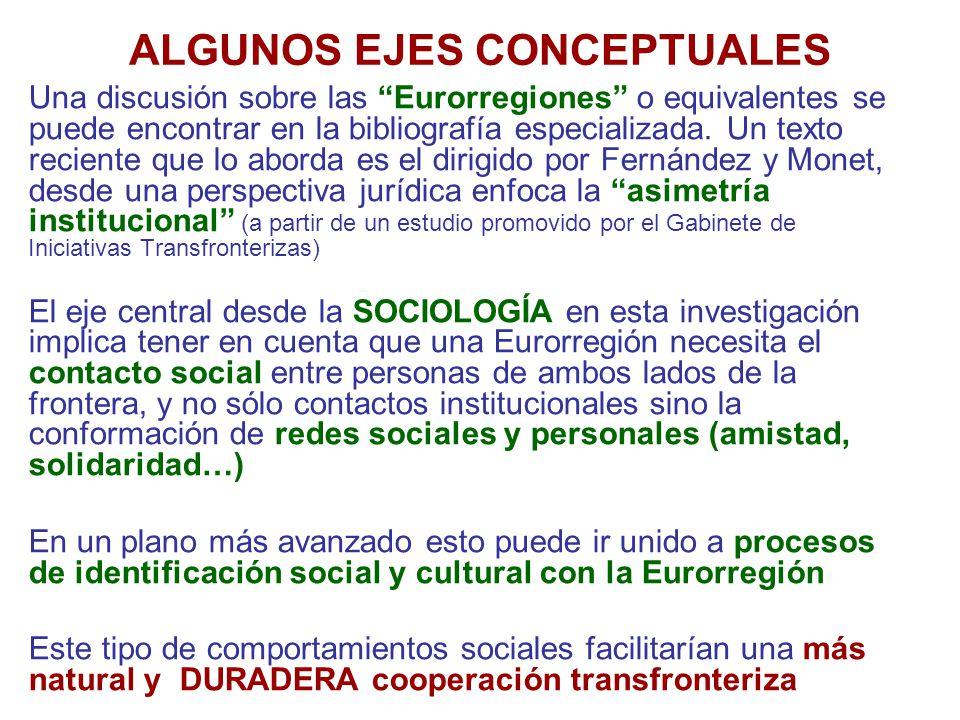ALGUNOS EJES CONCEPTUALES Una discusión sobre las Eurorregiones o equivalentes se puede encontrar en la bibliografía especializada.