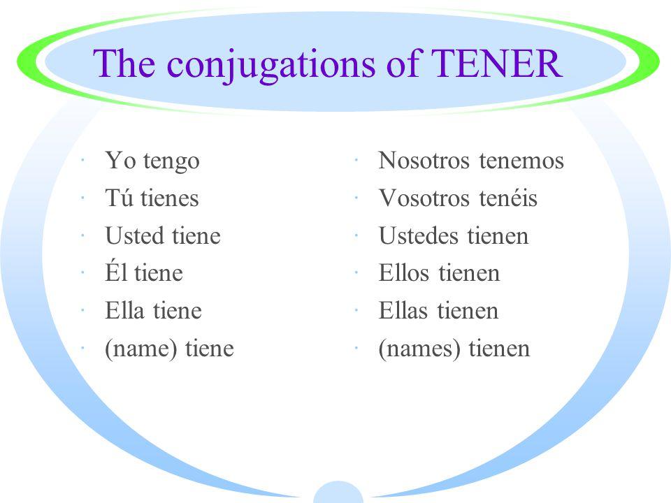 The conjugations of TENER ·Yo tengo ·Tú tienes ·Usted tiene ·Él tiene ·Ella tiene ·(name) tiene ·Nosotros tenemos ·Vosotros tenéis ·Ustedes tienen ·Ellos tienen ·Ellas tienen ·(names) tienen
