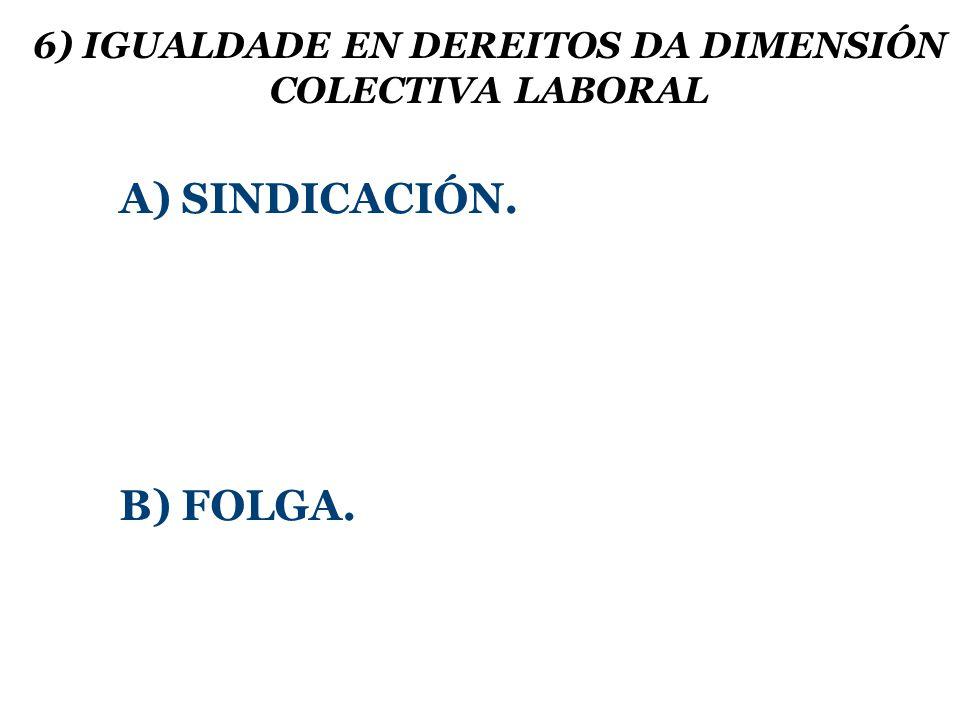 6) IGUALDADE EN DEREITOS DA DIMENSIÓN COLECTIVA LABORAL A) SINDICACIÓN. B) FOLGA.