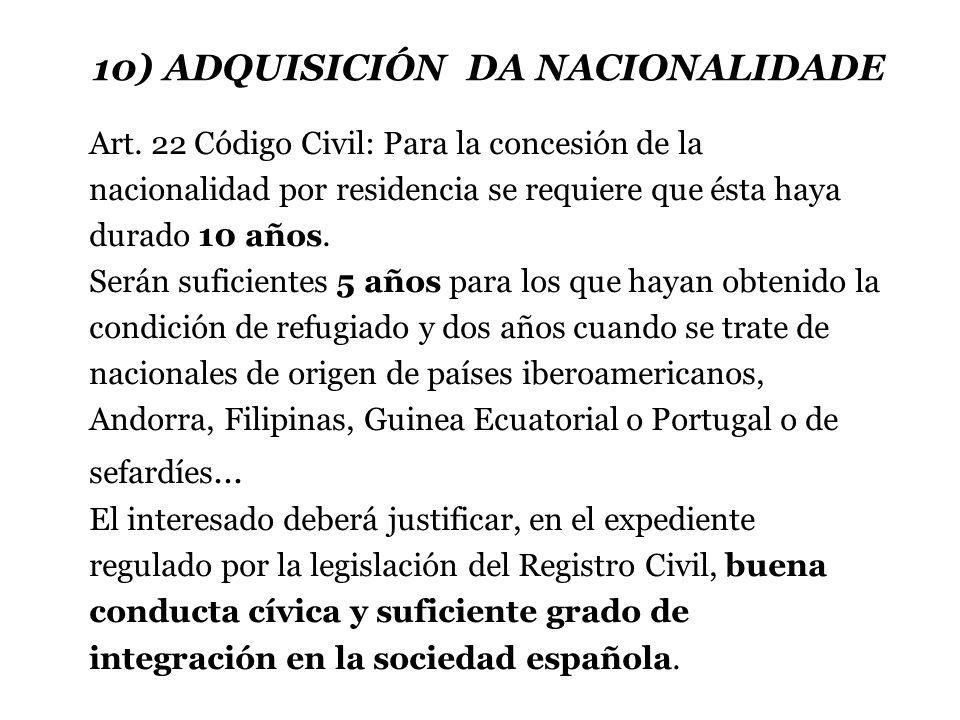 10) ADQUISICIÓN DA NACIONALIDADE Art.
