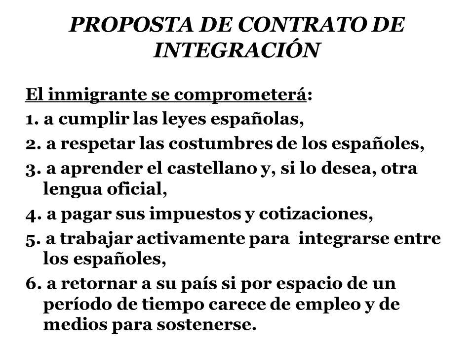 PROPOSTA DE CONTRATO DE INTEGRACIÓN El inmigrante se comprometerá: 1.