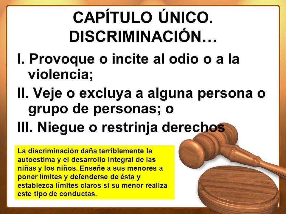 CAPÍTULO ÚNICO. DISCRIMINACIÓN… I. Provoque o incite al odio o a la violencia; II.