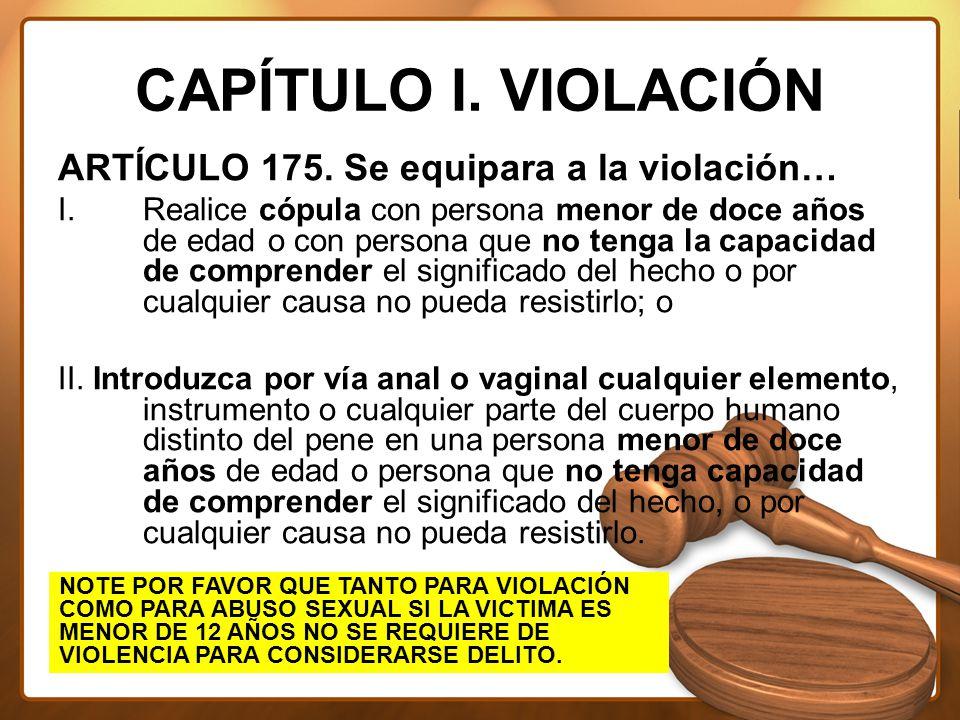 CAPÍTULO I. VIOLACIÓN ARTÍCULO 175.