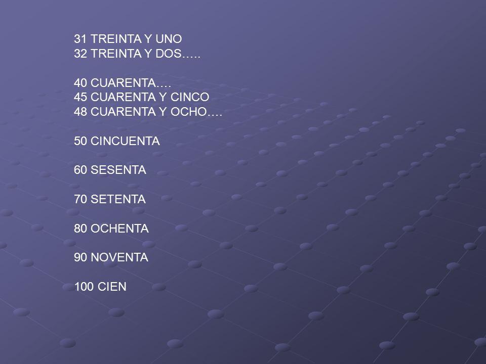 31 TREINTA Y UNO 32 TREINTA Y DOS….. 40 CUARENTA….
