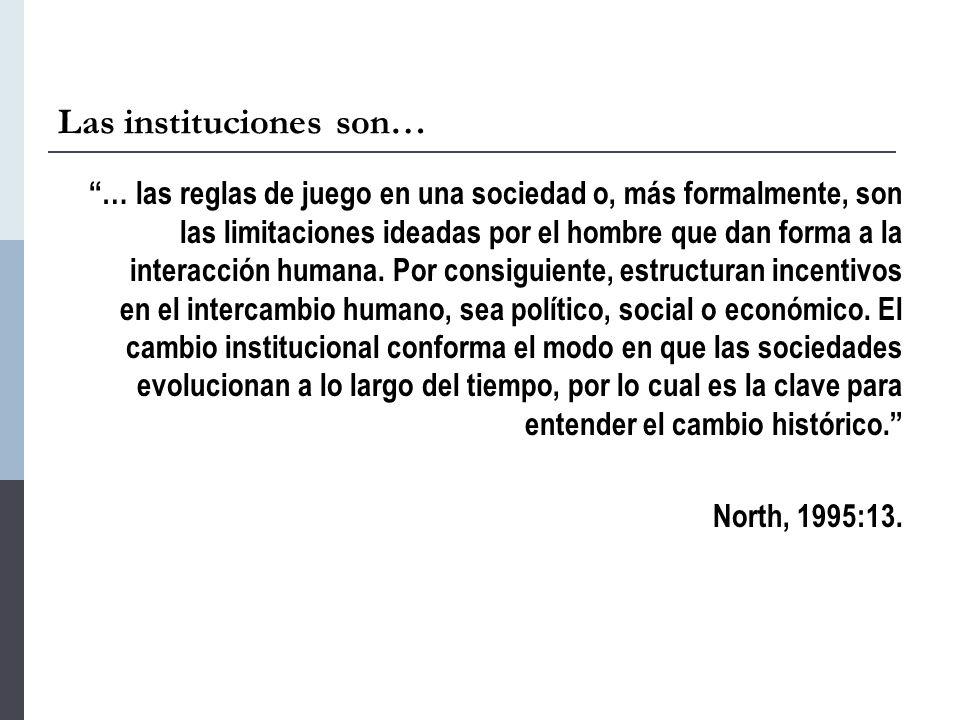 Las instituciones son… … las reglas de juego en una sociedad o, más formalmente, son las limitaciones ideadas por el hombre que dan forma a la interacción humana.
