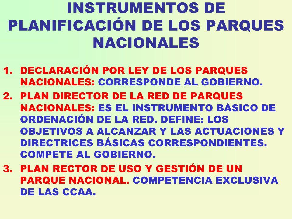 INSTRUMENTOS DE PLANIFICACIÓN DE LOS PARQUES NACIONALES 1.DECLARACIÓN POR LEY DE LOS PARQUES NACIONALES: CORRESPONDE AL GOBIERNO.