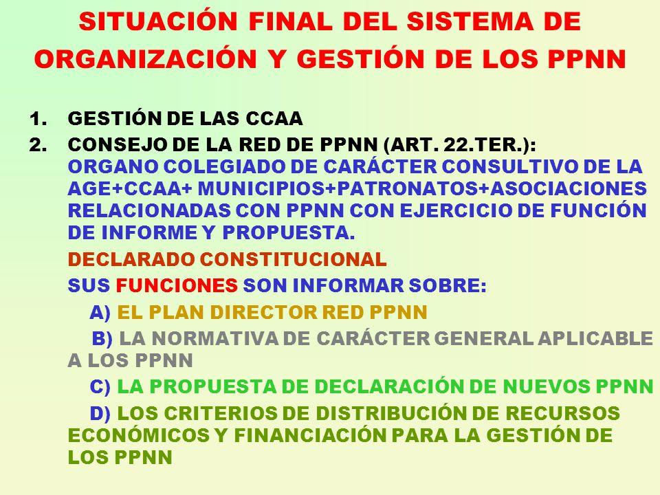 SITUACIÓN FINAL DEL SISTEMA DE ORGANIZACIÓN Y GESTIÓN DE LOS PPNN 1.GESTIÓN DE LAS CCAA 2.CONSEJO DE LA RED DE PPNN (ART.