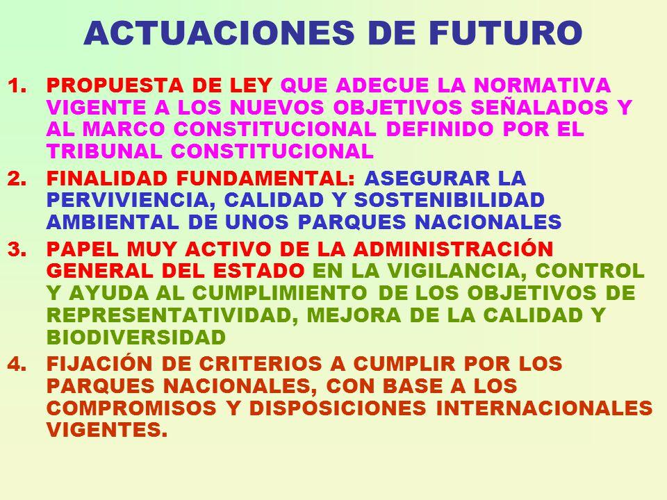 ACTUACIONES DE FUTURO 1.PROPUESTA DE LEY QUE ADECUE LA NORMATIVA VIGENTE A LOS NUEVOS OBJETIVOS SEÑALADOS Y AL MARCO CONSTITUCIONAL DEFINIDO POR EL TRIBUNAL CONSTITUCIONAL 2.FINALIDAD FUNDAMENTAL: ASEGURAR LA PERVIVIENCIA, CALIDAD Y SOSTENIBILIDAD AMBIENTAL DE UNOS PARQUES NACIONALES 3.PAPEL MUY ACTIVO DE LA ADMINISTRACIÓN GENERAL DEL ESTADO EN LA VIGILANCIA, CONTROL Y AYUDA AL CUMPLIMIENTO DE LOS OBJETIVOS DE REPRESENTATIVIDAD, MEJORA DE LA CALIDAD Y BIODIVERSIDAD 4.FIJACIÓN DE CRITERIOS A CUMPLIR POR LOS PARQUES NACIONALES, CON BASE A LOS COMPROMISOS Y DISPOSICIONES INTERNACIONALES VIGENTES.
