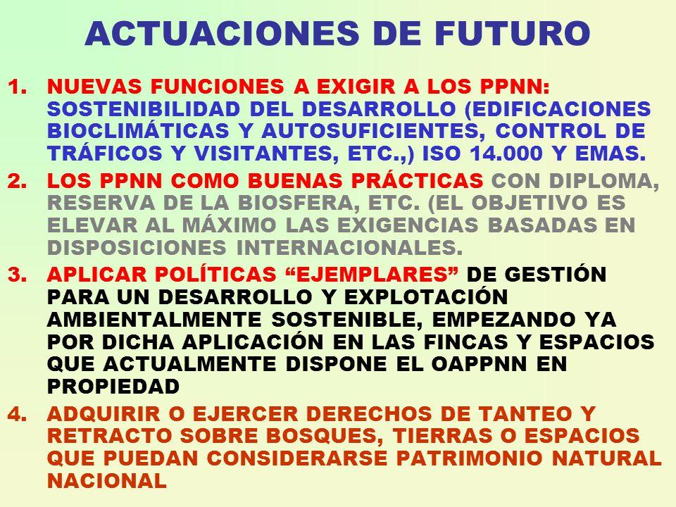 ACTUACIONES DE FUTURO 1.NUEVAS FUNCIONES A EXIGIR A LOS PPNN: SOSTENIBILIDAD DEL DESARROLLO (EDIFICACIONES BIOCLIMÁTICAS Y AUTOSUFICIENTES, CONTROL DE TRÁFICOS Y VISITANTES, ETC.,) ISO 14.000 Y EMAS.