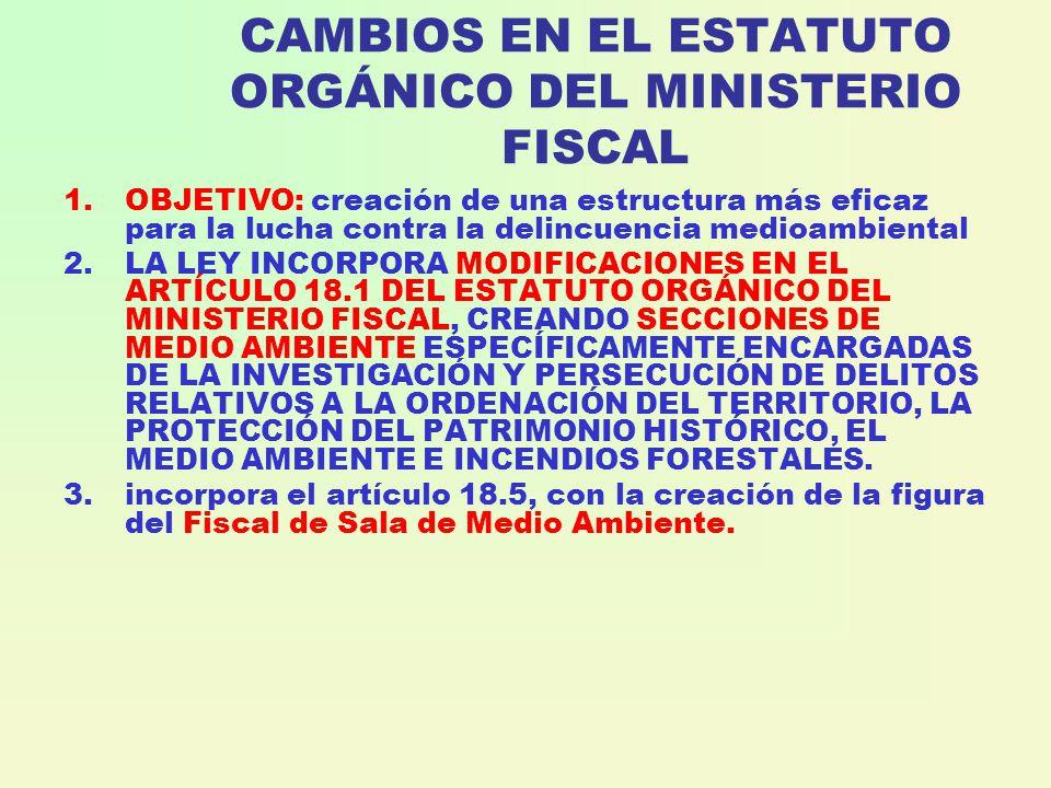 CAMBIOS EN EL ESTATUTO ORGÁNICO DEL MINISTERIO FISCAL 1.OBJETIVO: creación de una estructura más eficaz para la lucha contra la delincuencia medioambiental 2.LA LEY INCORPORA MODIFICACIONES EN EL ARTÍCULO 18.1 DEL ESTATUTO ORGÁNICO DEL MINISTERIO FISCAL, CREANDO SECCIONES DE MEDIO AMBIENTE ESPECÍFICAMENTE ENCARGADAS DE LA INVESTIGACIÓN Y PERSECUCIÓN DE DELITOS RELATIVOS A LA ORDENACIÓN DEL TERRITORIO, LA PROTECCIÓN DEL PATRIMONIO HISTÓRICO, EL MEDIO AMBIENTE E INCENDIOS FORESTALES.