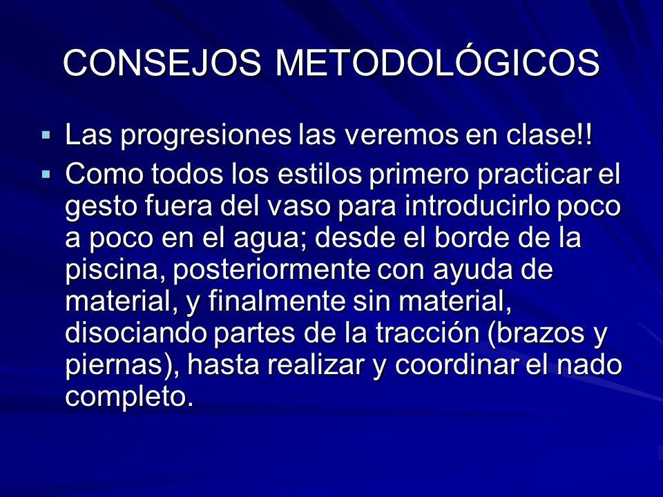 CONSEJOS METODOLÓGICOS  Las progresiones las veremos en clase!!  Como todos los estilos primero practicar el gesto fuera del vaso para introducirlo