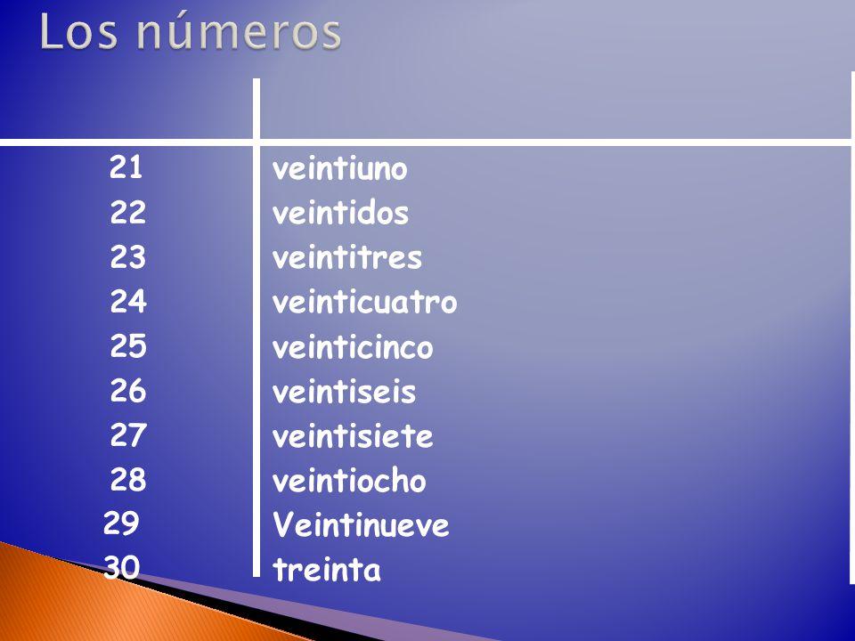 veintiuno veintidos veintitres veinticuatro veinticinco veintiseis veintisiete veintiocho Veintinueve treinta 21 22 23 24 25 26 27 28 29 30