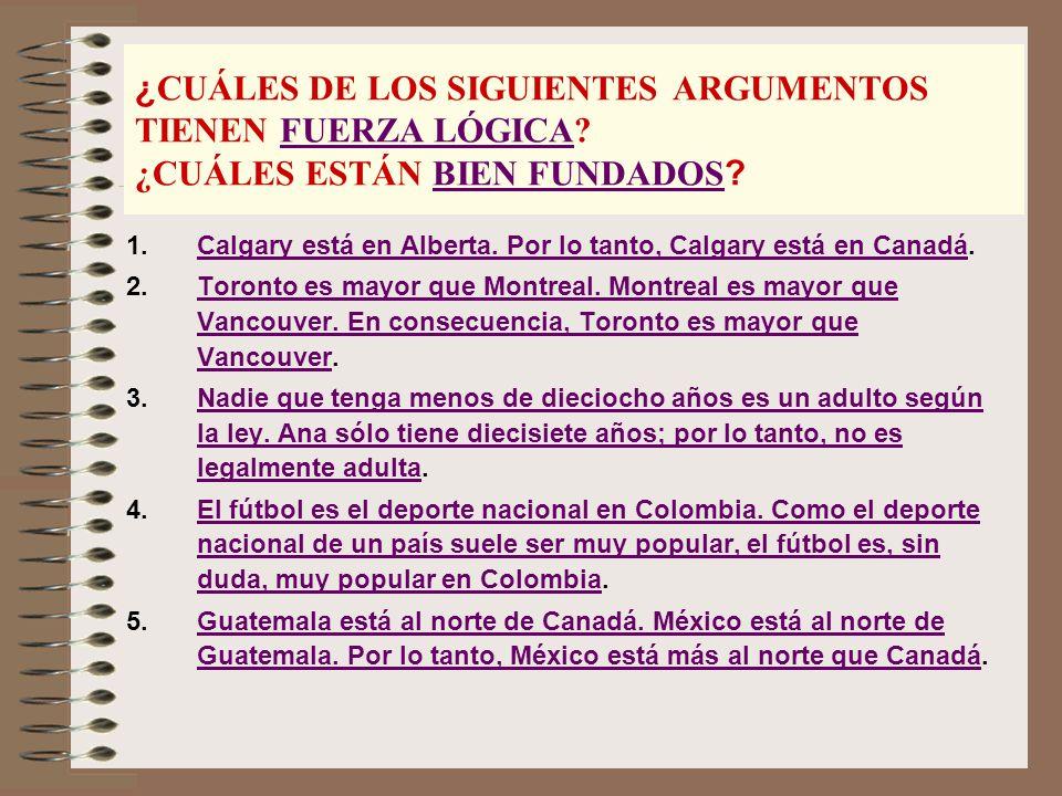 ¿ CUÁLES DE LOS SIGUIENTES ARGUMENTOS TIENEN FUERZA LÓGICA.