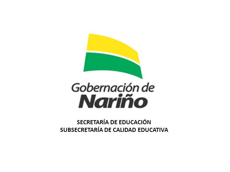 SECRETARÍA DE EDUCACIÓN SUBSECRETARÍA DE CALIDAD EDUCATIVA