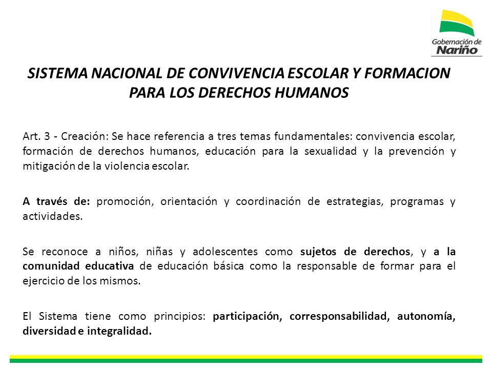 SISTEMA NACIONAL DE CONVIVENCIA ESCOLAR Y FORMACION PARA LOS DERECHOS HUMANOS Art.
