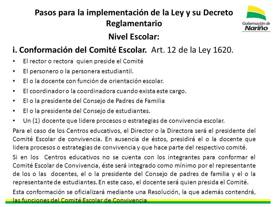 Pasos para la implementación de la Ley y su Decreto Reglamentario Nivel Escolar: i.