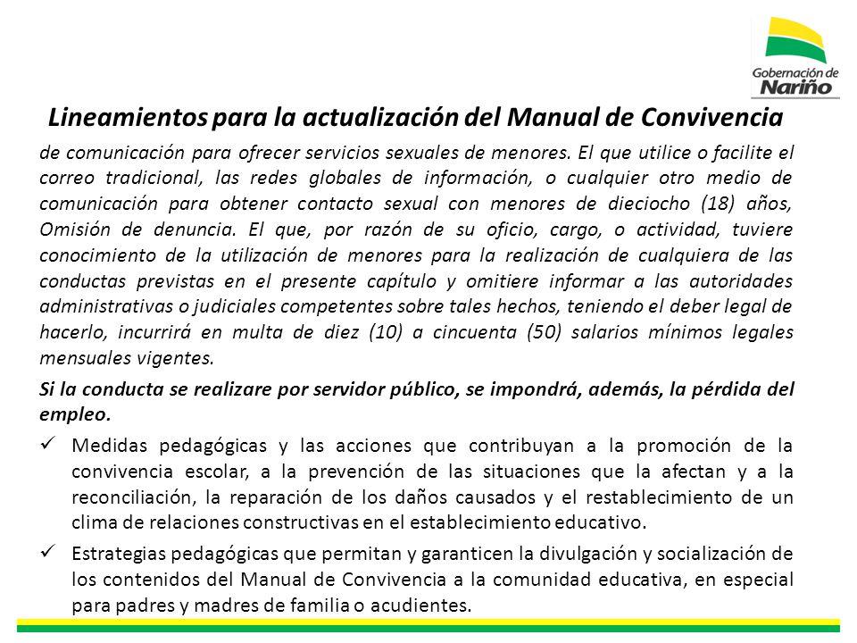 Lineamientos para la actualización del Manual de Convivencia de comunicación para ofrecer servicios sexuales de menores.