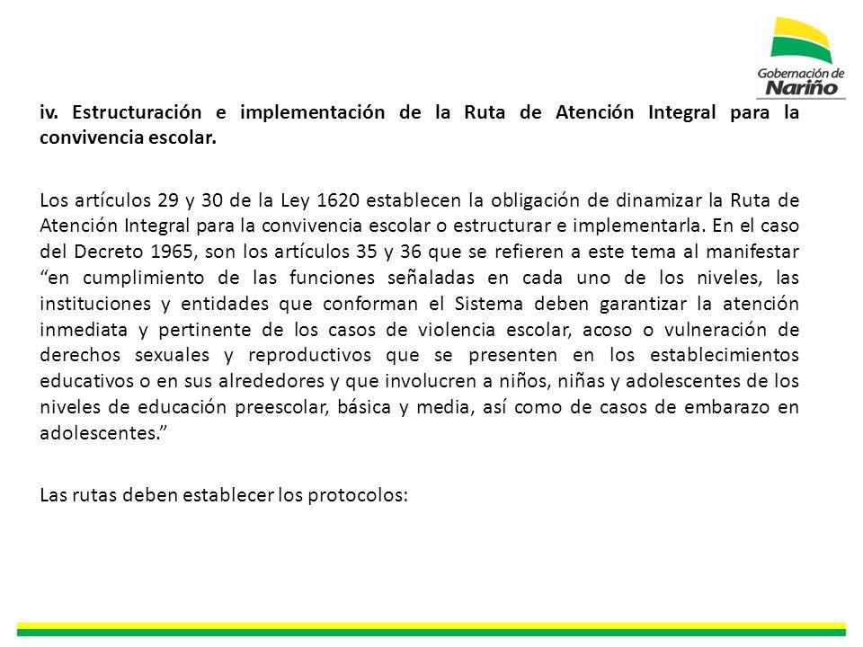 iv. Estructuración e implementación de la Ruta de Atención Integral para la convivencia escolar.