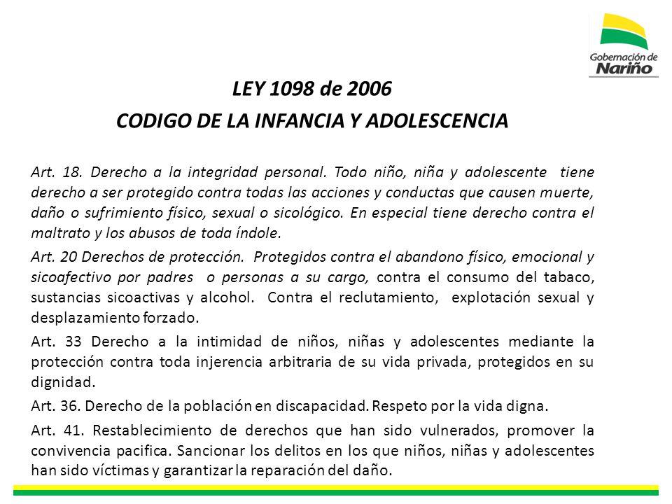LEY 1098 de 2006 CODIGO DE LA INFANCIA Y ADOLESCENCIA Art.
