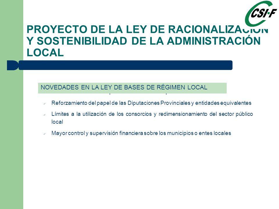 Redefinición de las competencias de los municipios Reforzamiento del papel de las Diputaciones Provinciales y entidades equivalentes Límites a la utilización de los consorcios y redimensionamiento del sector público local Mayor control y supervisión financiera sobre los municipios o entes locales PROYECTO DE LA LEY DE RACIONALIZACIÓN Y SOSTENIBILIDAD DE LA ADMINISTRACIÓN LOCAL NOVEDADES EN LA LEY DE BASES DE RÉGIMEN LOCAL
