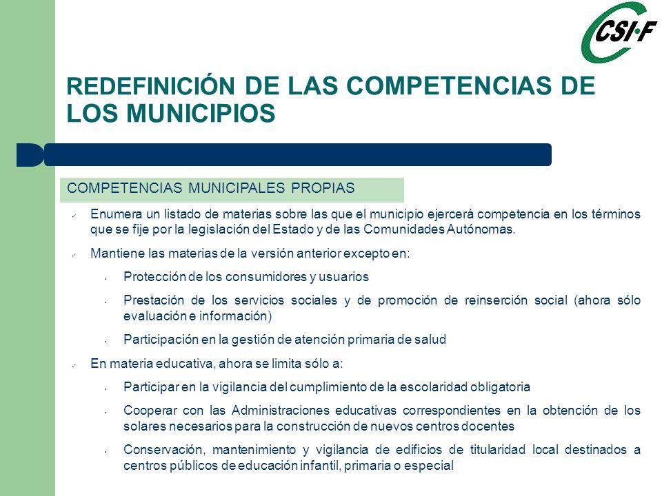 Enumera un listado de materias sobre las que el municipio ejercerá competencia en los términos que se fije por la legislación del Estado y de las Comunidades Autónomas.