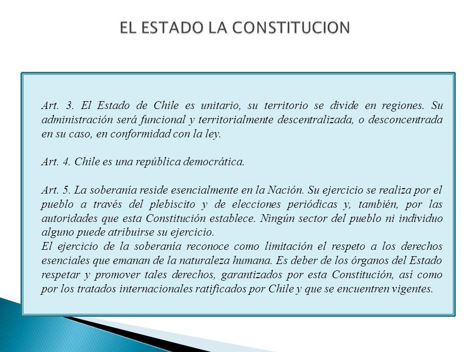 Art. 3. El Estado de Chile es unitario, su territorio se divide en regiones.
