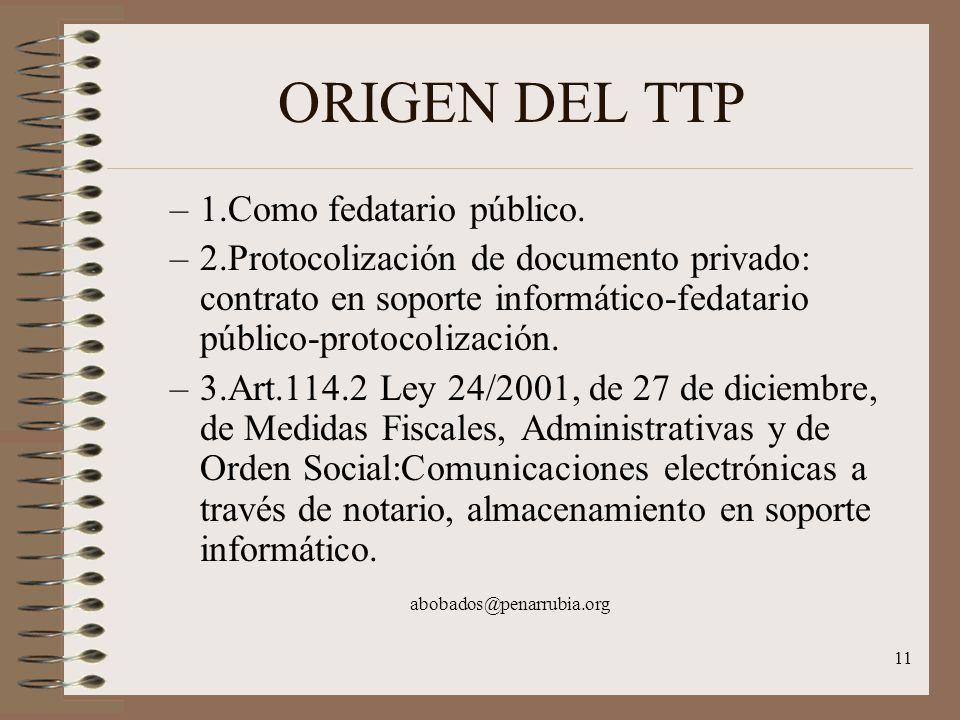 11 ORIGEN DEL TTP –1.Como fedatario público.