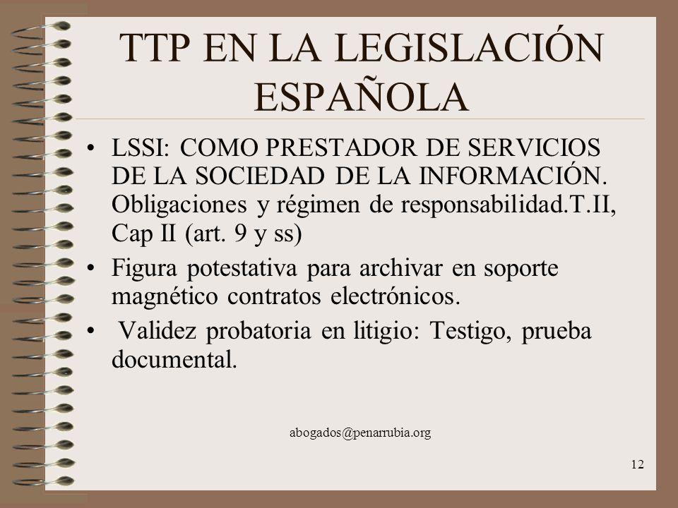 12 TTP EN LA LEGISLACIÓN ESPAÑOLA LSSI: COMO PRESTADOR DE SERVICIOS DE LA SOCIEDAD DE LA INFORMACIÓN.